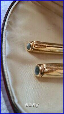 1950 vintage PARKER 51 GOLD SIGNET Fountain Pen & Pencil with BOX