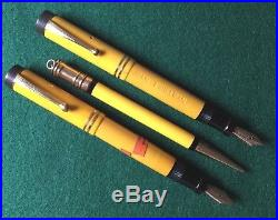 (2)vintage Parker Duofold Junior Mandarin Yellow Fountain Pens & Pencil Rare Jrs