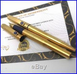 24k Gold Plated Parker 25 Fountain Pen / Ballpoint Writing Pen Set Vintage Gift
