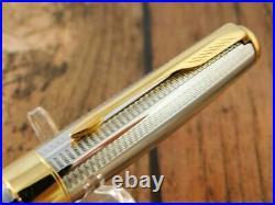 Beautiful! Parker Sonnet Fountain Pen Vintage Silver Gold 18k-750 France U