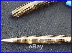 Beautiful Parker Vintage Tiger Stripe Gold Celluloid Fountain Pen & Pencil Set