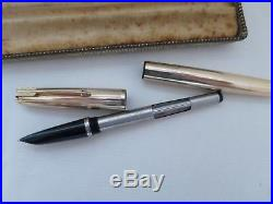 Boxed Vintage Parker 51 Aerometric Fountain Pen & Pencil Set Rolled Gold VGC