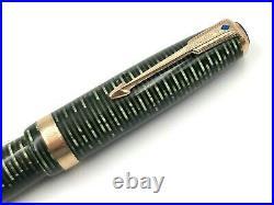 Fine Nos Vintage 1945 Parker Emerald Pearl Vacumatic Major Fountain Pen 14k Med