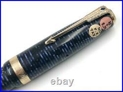 Fine Nos Vintage 1946 Parker Azure Blue Pearl Vacumatic Major Fountain Pen 14k M