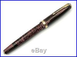 Fine Vintage 1939 Parker Burgundy Pearl Vacumatic Long Major Dj Fountain Pen 14k