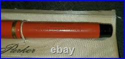 Geo S. Parker Duofold Lucky Curve Fountain Pen Vintage Janesville WI USED Orange