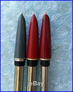 Lot 3 unsed vintage parker 51 grey/GF 51 red/GF 17 red/GF fountain pen