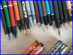 Lot of 40 Vintage Fountain & Ball Pens Parker Sheaffer Esterbrook Pelikan Kaweco