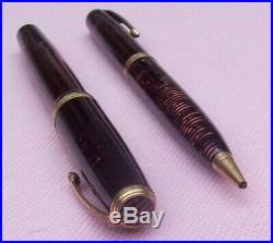 Old Antique Vintage PARKER MAJOR Fountain Pen Pencil Set Golden Brown Pearl Rare