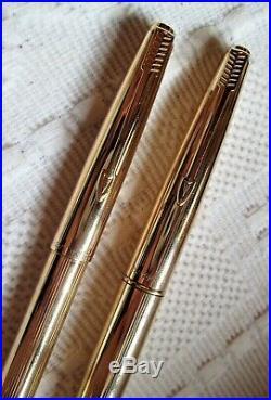 PARKER 45 fountain pen and ballpoint pen, gold-plated, Parker nib 14 kt, vintage