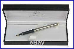 Parker 180 Stainless & Gold Fountain Pen Med Pt & Vintage Converter New In Box