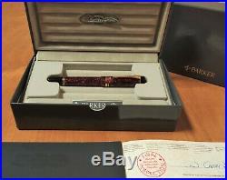 Parker Duofold Centennial MK I Marbled Maroon Vintage Fountain Pen F 18K (NOS)