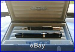Parker Duofold Centennial MKI Black Vintage Set Fountain Pen+ Me. Pencil F 18K