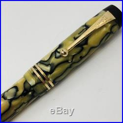 Parker Duofold Deluxe Fountain Pen Vintage Black Pearl Celluloid Duo Fold 5 1/8