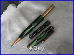 Parker Fountain Pen/pencil Set Vintage 14k Nib Duofold 9 Toothbrush