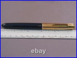 Parker Vintage 51 Blue Gold Cap Fountain Pen-squeeze fill-working-medium