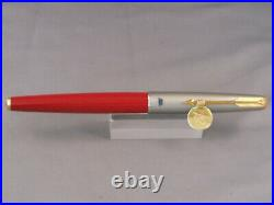 Parker Vintage 61 Brushed Chrome Red Rage 1st Edition Fountain Pen-uninked