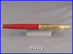 Parker Vintage 61 Gold Rainbow Cap Rage Red First EditionFountain Pen- UNINKED