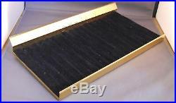 Parker Vintage Metal Pen Tray-7-X13-1/2-gold colored-black insert- 17 pens