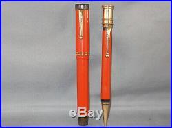 Parker Vintage Senior Big Red Duofold Pen Set working-fine point
