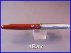Parker Vintage VS Button Fill pen. Rust- Stickered-uninked-clear feed
