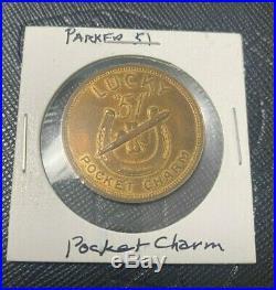 RARE Vintage Parker 51 Fountain Pen LUCKY POCKET CHARM COIN