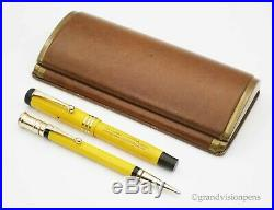 Rare Boxed Vintage Parker Lady Duofold Mandarin Yellow Fountain Pen & Pencil Set
