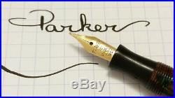 Rare Parker Gold Dust Blue Quartz Streamline Modern Broad 18ct Gold Nib Vintage