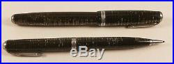 Rare Vintage 1938 Star Clip Pearl/Gray Parker Vacumatic Fountain Pen Set withBox