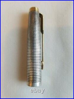 Rare Vintage Parker 75 Sterling Silver Cisele Flat Top 14k B Gold Used No Box