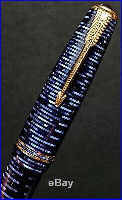 VINTAGE 1947 PARKER VACUMATIC MAJOR FOUNTAIN PEN & PENCIL AZURE BLUE Restored