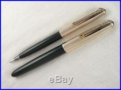 Vintage 1951 Forest Green Parker 51 Fountain Pen Set Gold Filled Caps