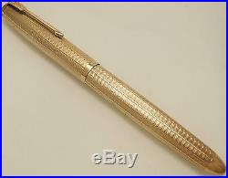 Vintage 1960's Parker 51 Presidential Solid Gold Fountain Pen Boxed 9ct Vgc