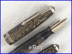 Vintage Double Jewel Brown Striped Parker Vacumatic Fountain Pen Restored