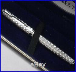 VINTAGE PARKER 35 Guirlande DIAMOND PLAID TARTAN diamond silver FOUNTAIN PEN