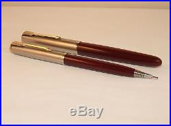 Vintage Parker 51 De Luxe Fountain Pen & Repeater Pencil Boxed Set Burgundy
