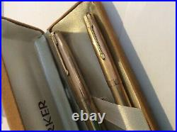 VINTAGE PARKER 51 FOUNTAIN PEN AND PEN 1/10th 12ct ROLLED GOLD MADE IN ENGLAND