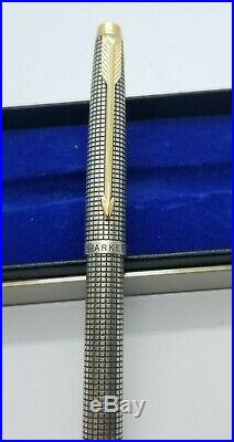 VINTAGE PARKER 75 Sterling Silver 925 Cisele Ballpoint Pen Made In USA NIB