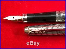 VINTAGE PARKER 75 Sterling Silver Cisele Fountain Pen 14K Gold Fine Nib in Box