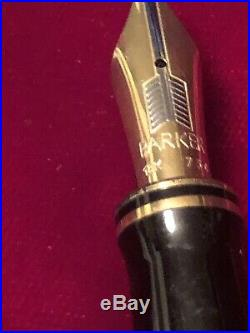 VINTAGE PARKER DUOFOLD CENTENNIAL BLACK PEARL FOUNTAIN PEN 18k Boxs Papers