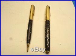 VINTAGE PARKER Rare Design 1/10 14k Gold Filled FOUNTAIN PEN & Pencil Set