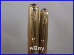 VTG. Parker 51 Fountain Pen & Pencil Gold Filled caps 1/8 14K &1/10 16K Working