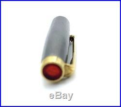 Very Rare Parker T1 Titanium Fountain Pen Double Red Jewels USA Vintage