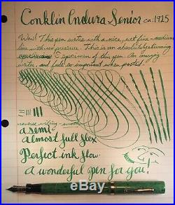 Vintage 1920s Green Conklin Endura Senior Fountain Pen 14k Flex Nib-restored