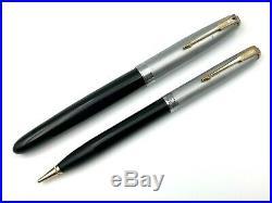 Vintage 1944 Parker 51 Sterling Silver Black Vacumatic Fountain Pen Pencil 14k