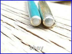 Vintage 1945 Parker 51 Double Jewel Blue Diamond Nassau Green Fountain Pen
