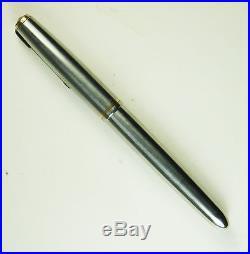 Vintage 1955 PARKER 51 FLIGHTER Fountain Pen Steel, 14kt Gold Fill, Aeromatic