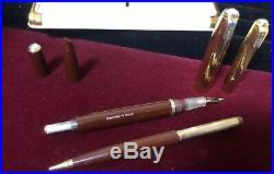 Vintage 1st Yr Parker 51 DJ Fountain Pen/Pencil Cordovan Brown High Imprint Caps