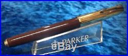 Vintage 1st yr Parker 51 Cordavan Brown DJ Fountain Pen with 1st High Imprint Cap