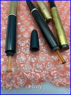 Vintage 3 Fountain pen and 2 pencil lot from estate Parker and vulcan